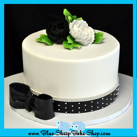 black and white cake with crystal banding