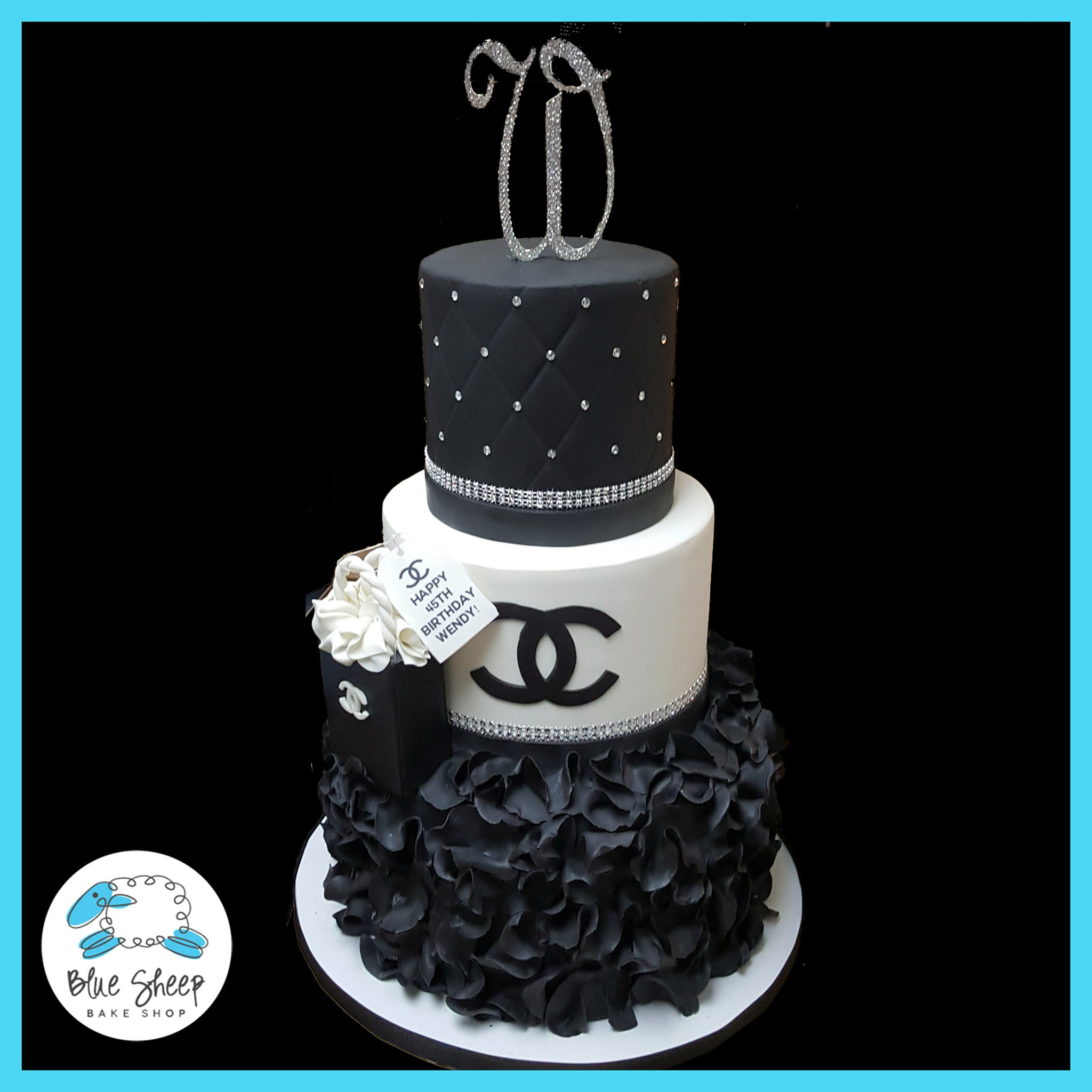 50th Birthday Black And White Chanel Inspired Cake Blue Sheep Bake