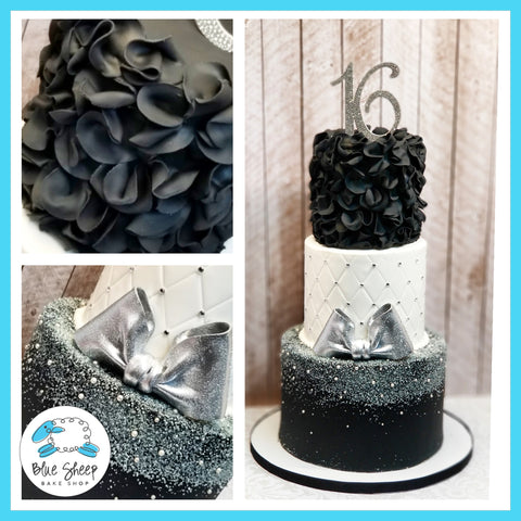 Black and white fondant sweet 16 cake with glitter and ruffles NJ