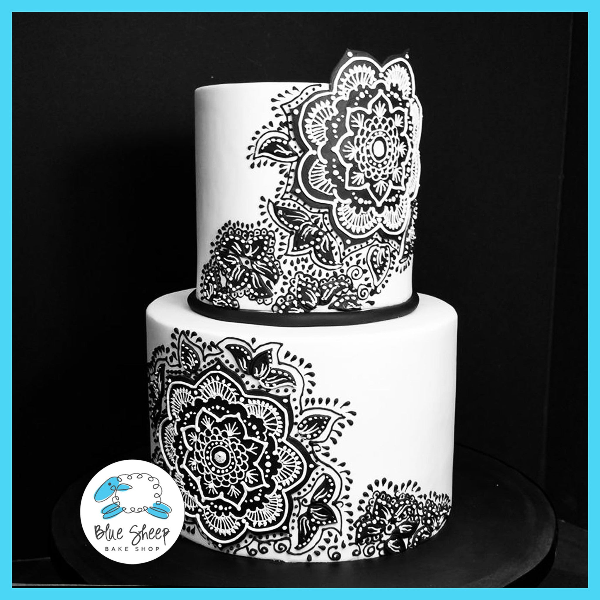 Black And White Henna Wedding Cake Blue Sheep Bake Shop