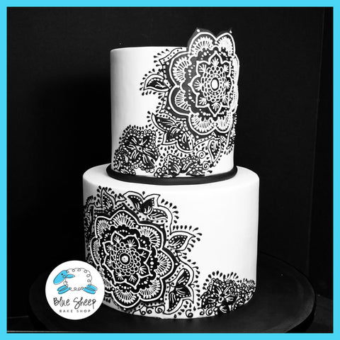 black and white wedding cakes nj