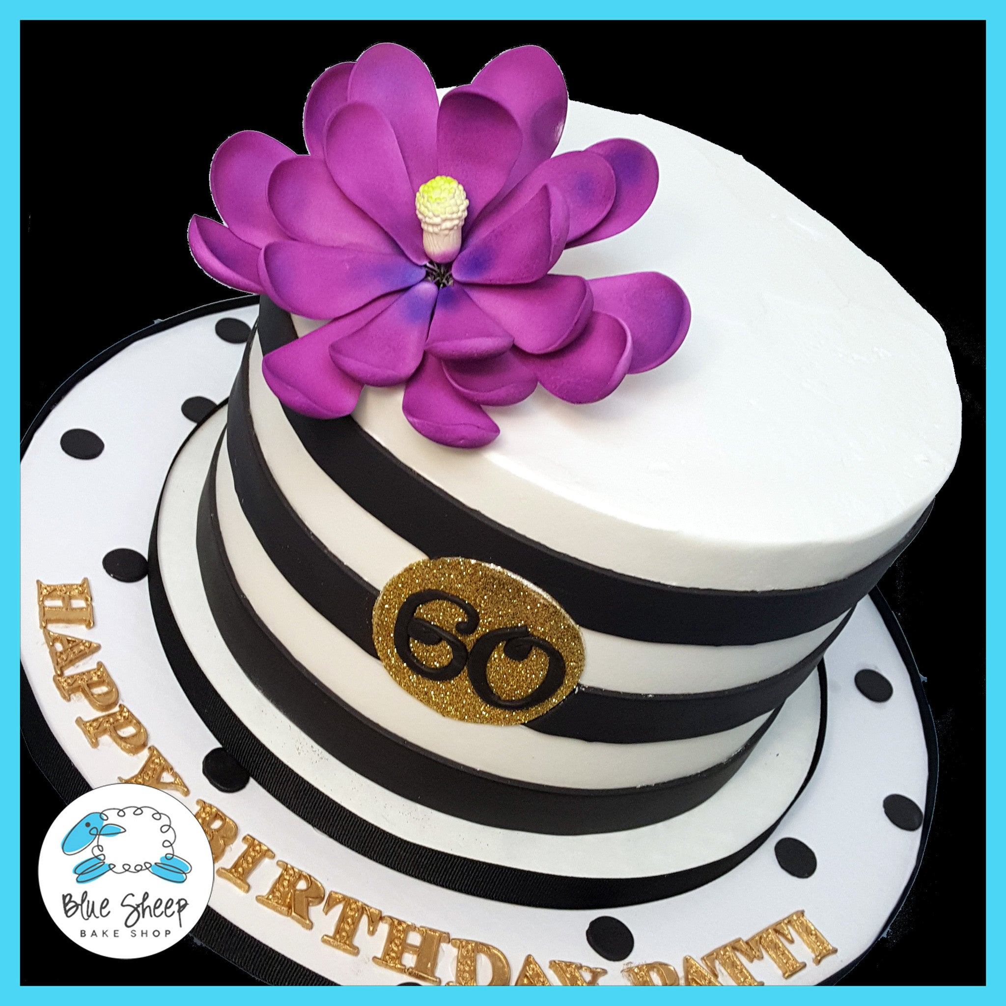 Black And White Striped Couture Birthday Cake Blue Sheep Bake Shop