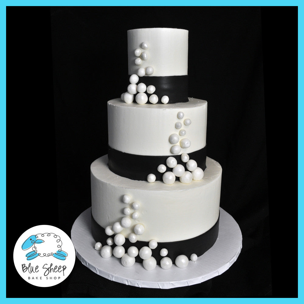 black and whtie wedding cake with pearls nj custom cakes