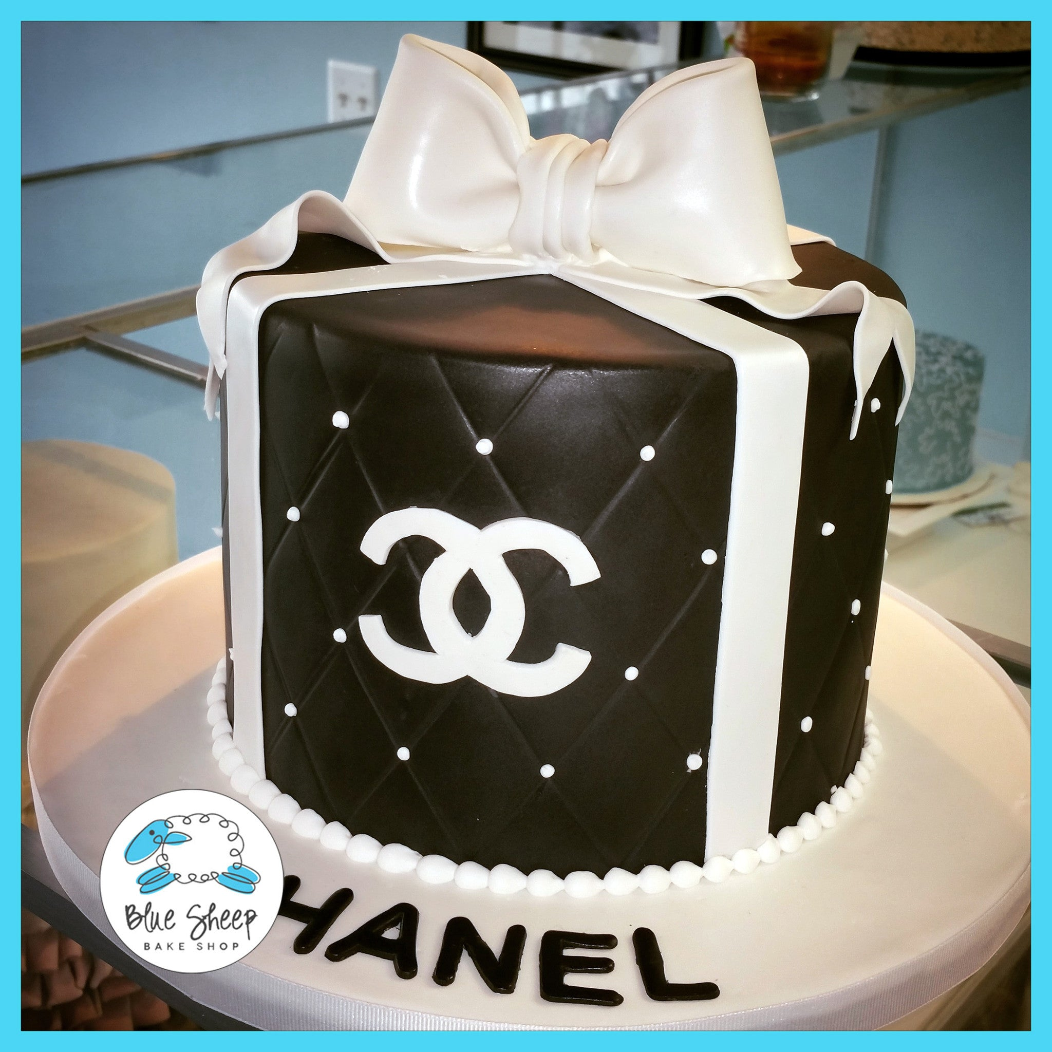Black And White Chanel Birthday Cake Blue Sheep Bake Shop