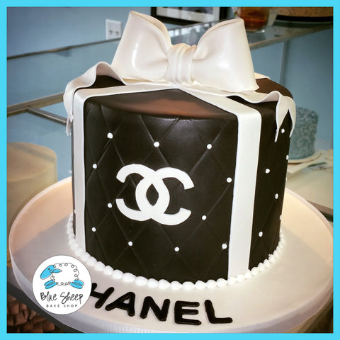 black and white chanel birthday cake nj custom cakes