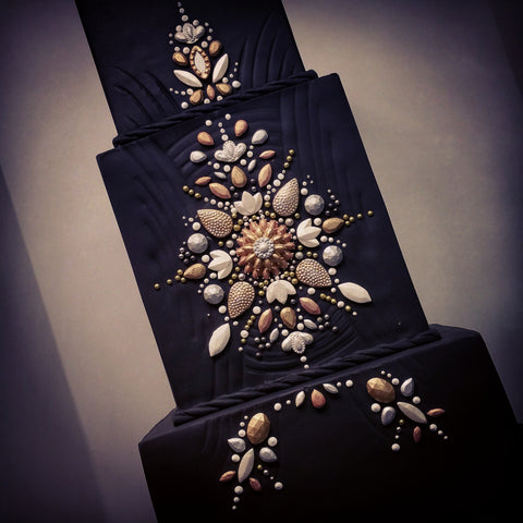 black art deco fondant wedding cake nj
