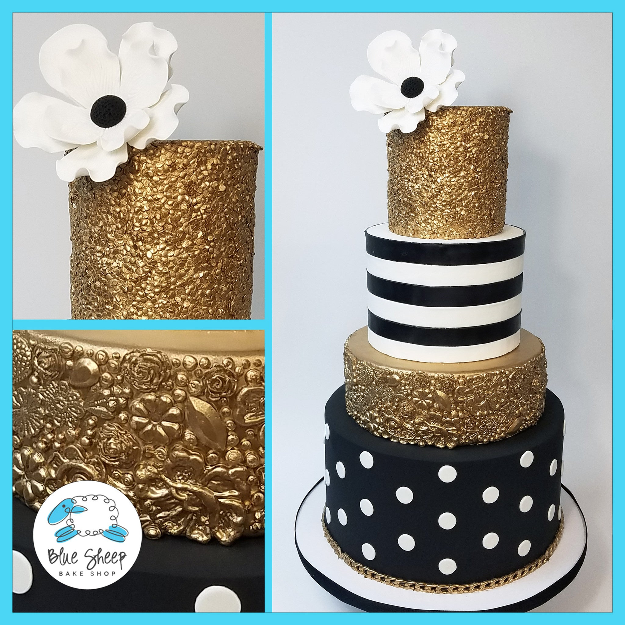 Black White And Gold 40th Birthday Cake Blue Sheep Bake Shop