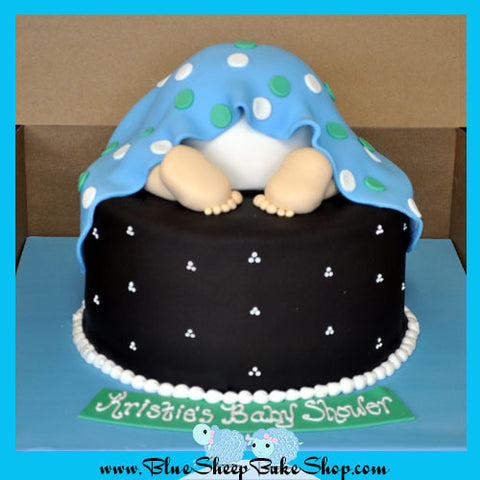 Blue and Brown Baby Rump Cake