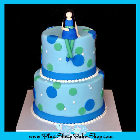 Blue and Green Polka Dotted Baby Shower Cake