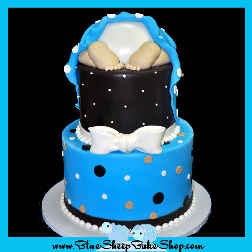 blue and brown baby shower cake baby rump
