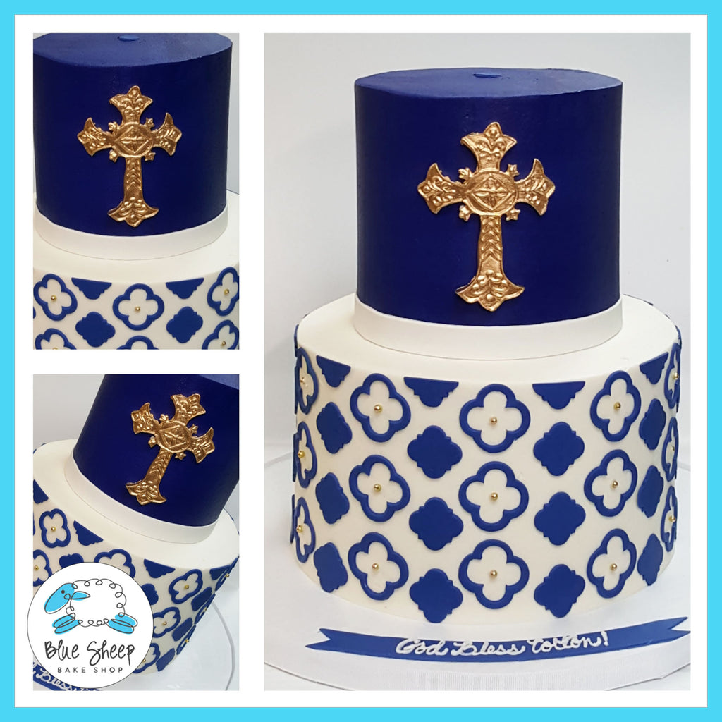Blue and gold communion cake for boys nj cake shop