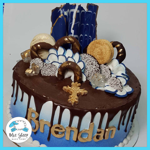 Royal Blue and Gold Ice Cream Cake (Drip Cake)