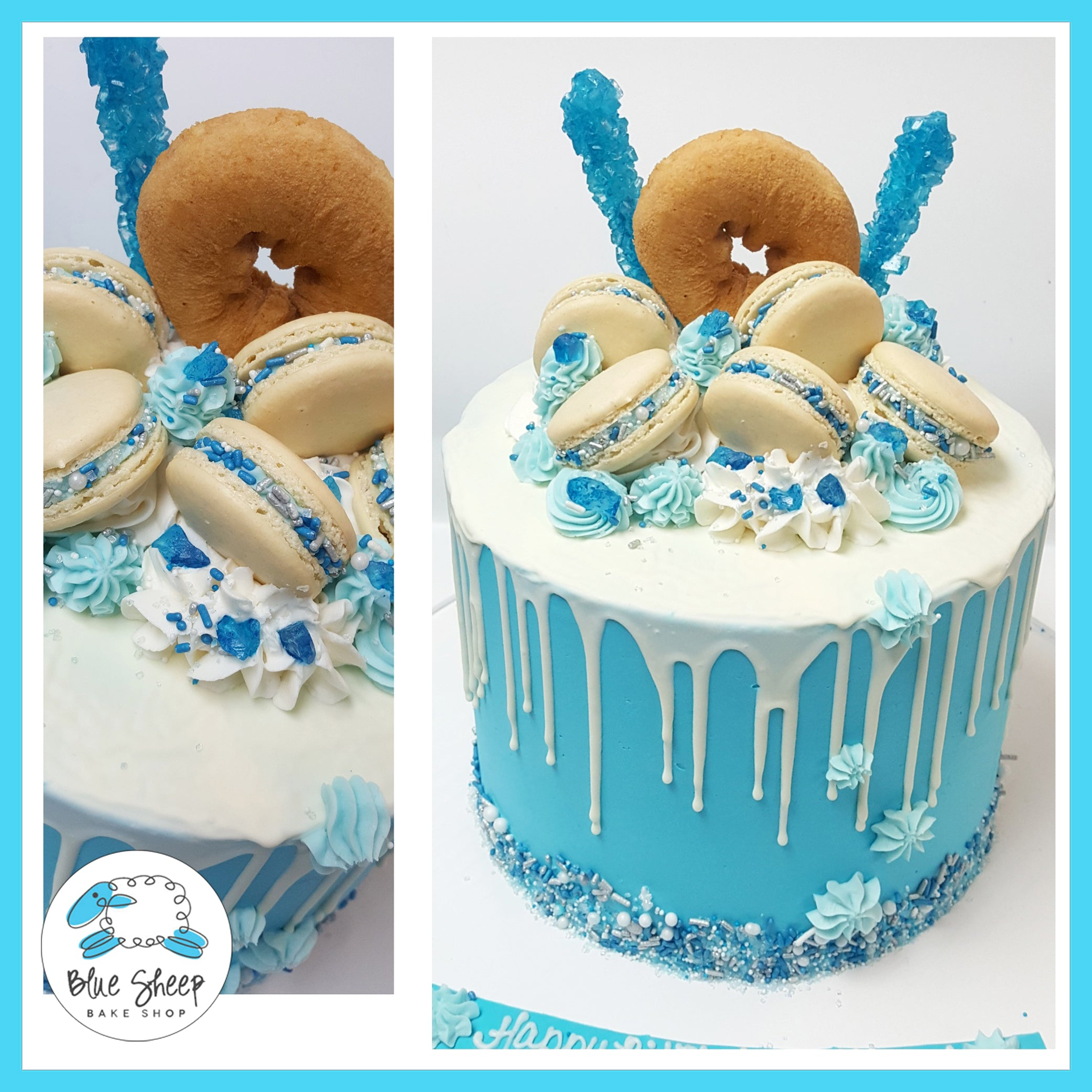 Blue And White Drip Birthday Cake NJ