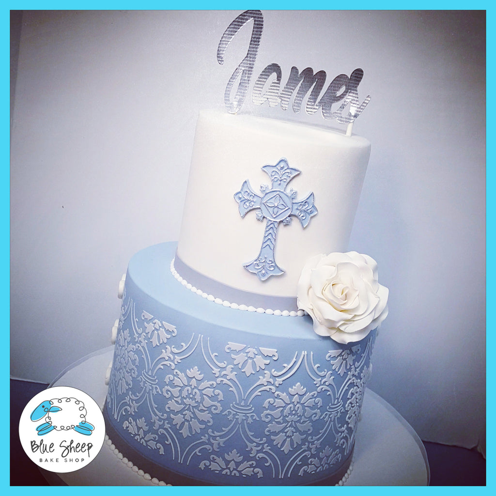 blue and white lace christening cake nj