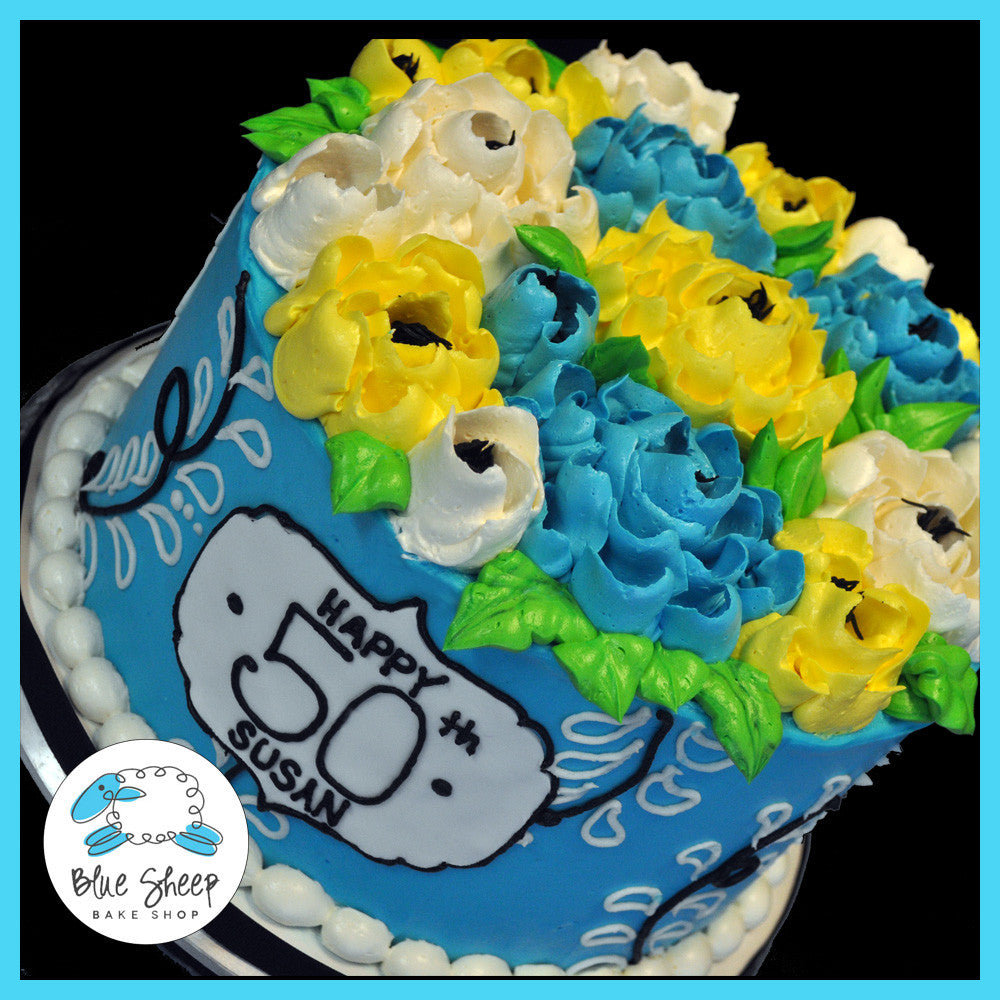 Blue Yellow Floral Buttercream Birthday Cake Blue Sheep Bake Shop