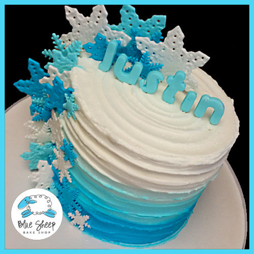 Blue Buttercream Rustic Cake With Snowflakes Blue Sheep
