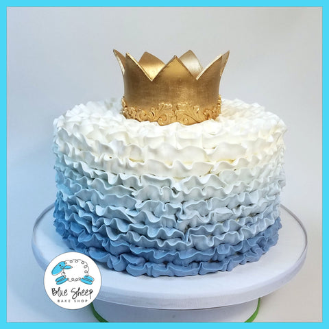 Blue Ombre Ruffle Cake & Crown