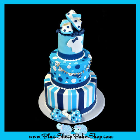 tiered blue baby shower cake nj