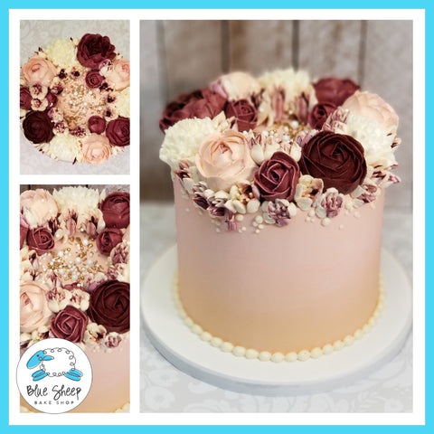 Blush and Burgundy Buttercream Floral Coronet Cake - Blue Sheep Bake Shop NJ