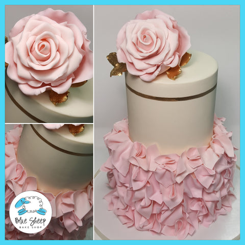 ivory and blush fondant bridal shower cake nj