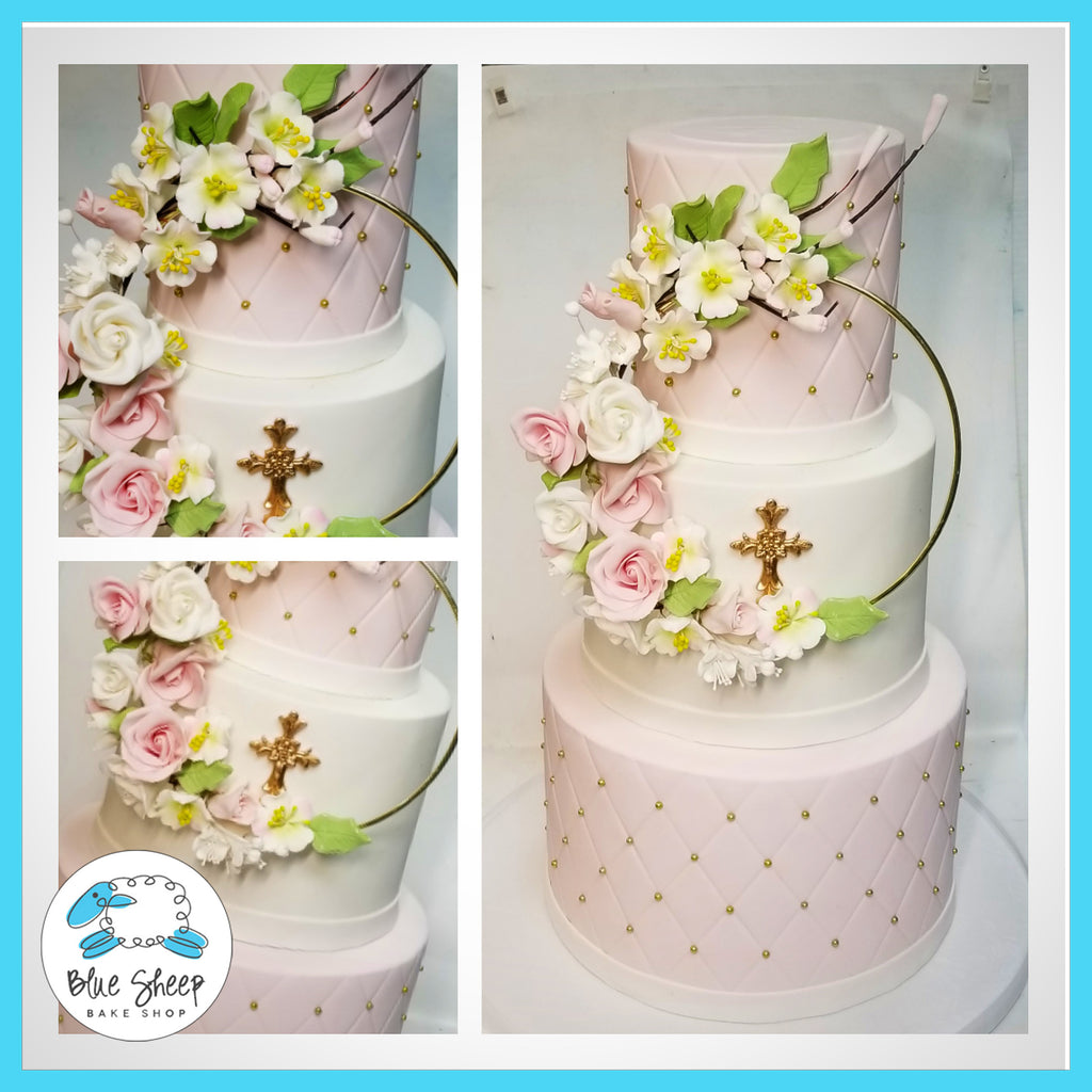 floral wreath christening cake nj cakes