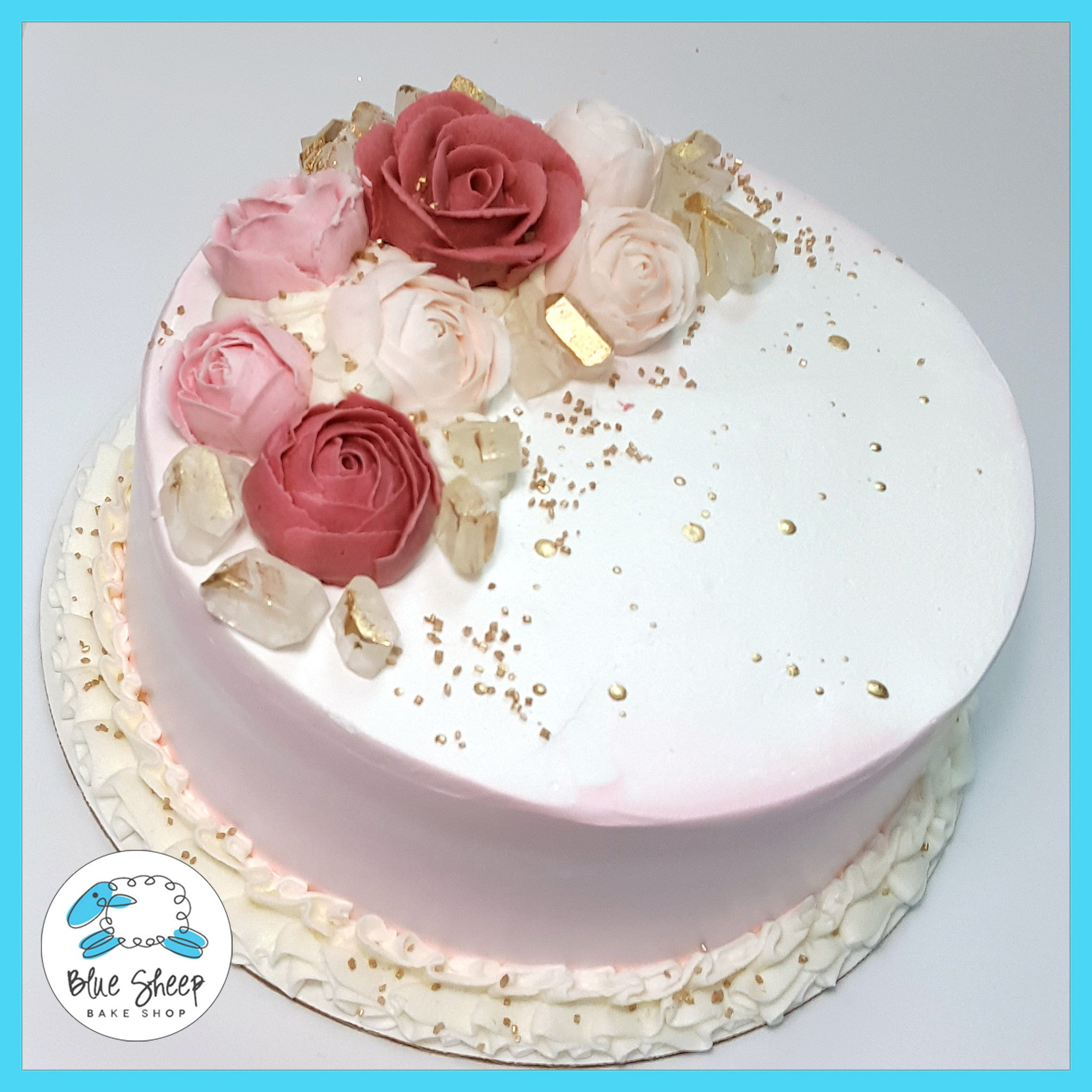Pink Watercolor Ice Cream Cake With Roses Nj Blue Sheep Bake Shop