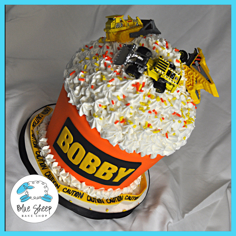 Brilliant Bobbys Construction Themed Giant Cupcake Birthday Cake Blue Personalised Birthday Cards Veneteletsinfo