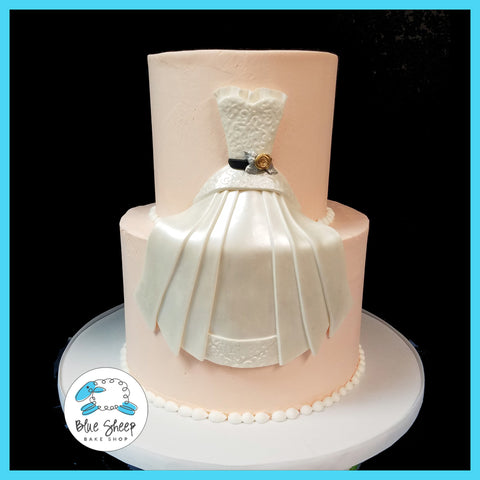 Salmon Buttercream Wedding Gown Bridal Shower Cake NJ