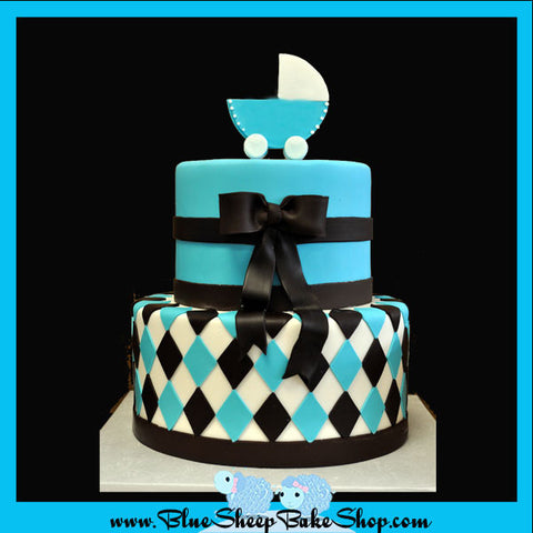 Blue and Brown Baby Shower Cake