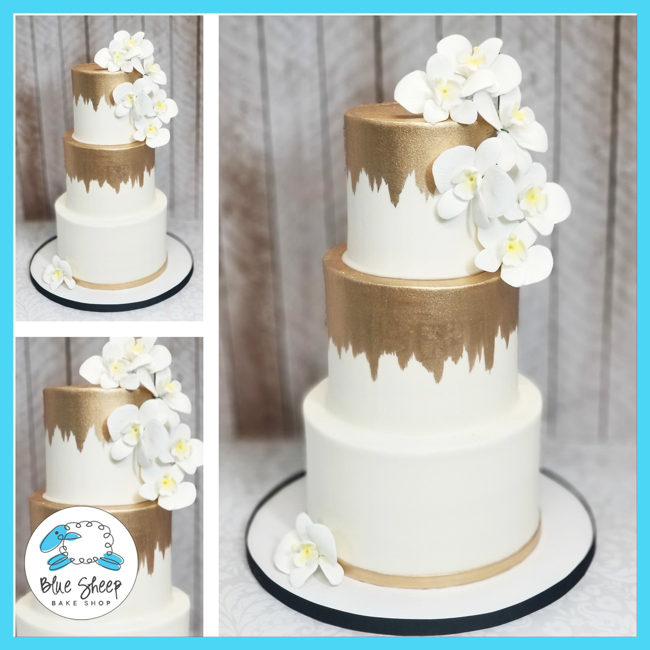 Gold Brushed Wedding Cake with Orchids