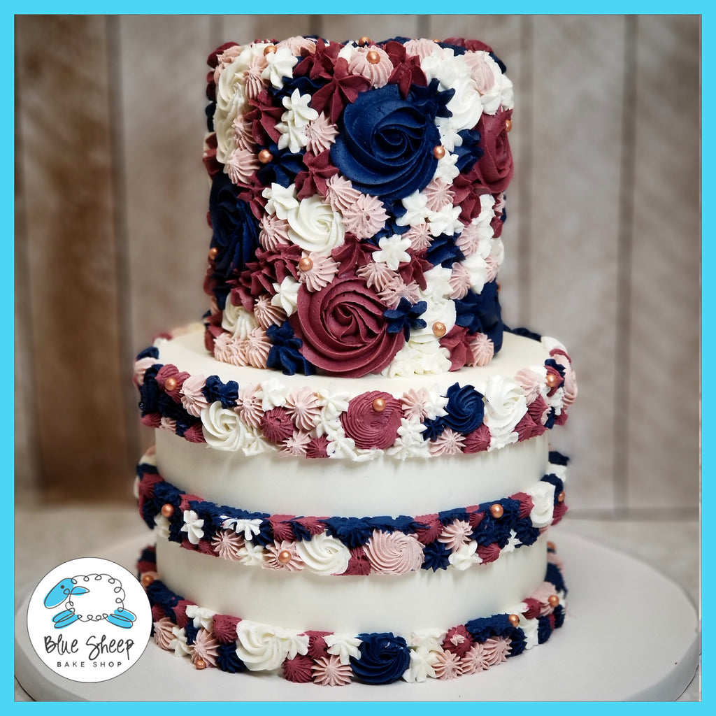 burgundy blush navy buttercream textures bridal shower cake custom cakes nj