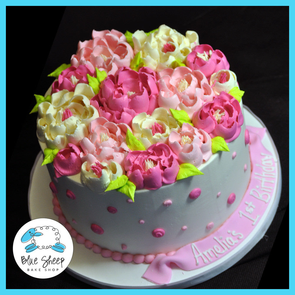 Buttercream Polka Dots And Flowers Birthday Cake Blue Sheep Bake Shop