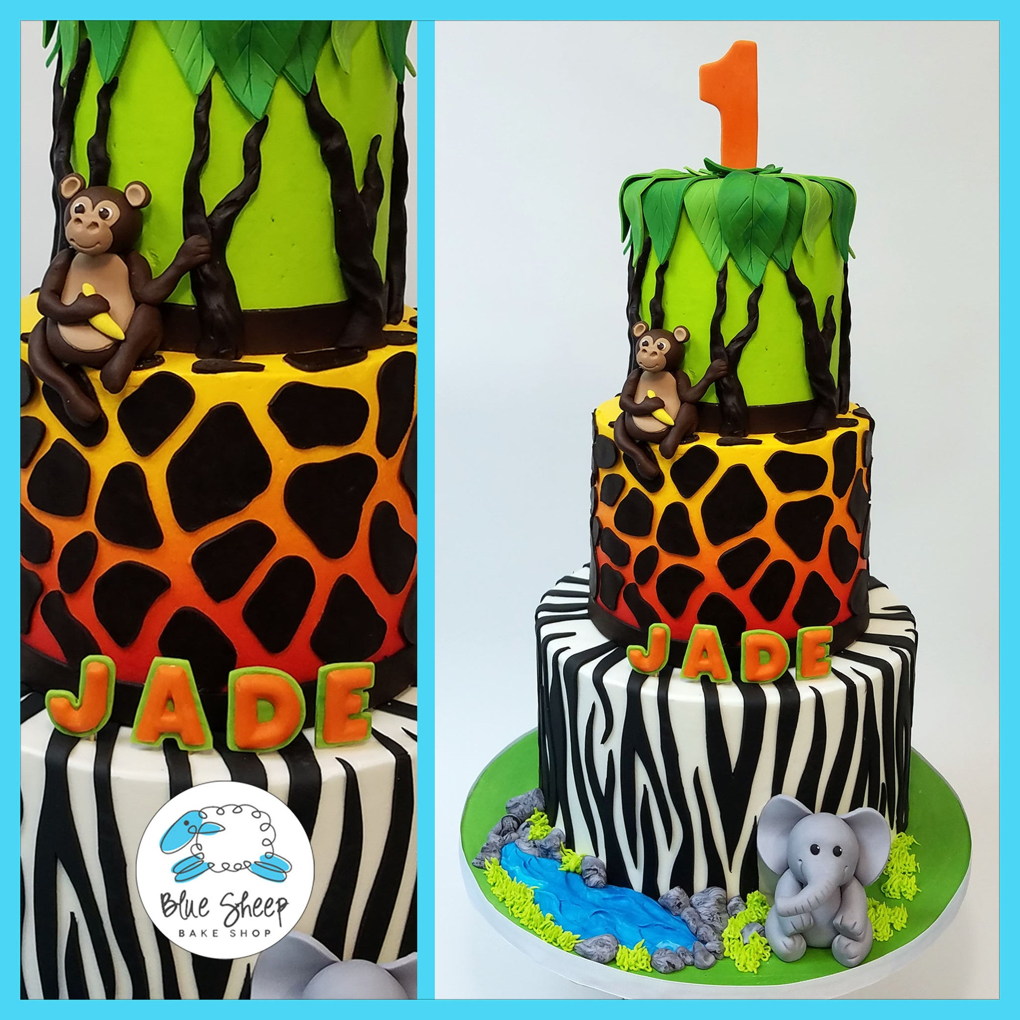 Safari Jungle 1st Birthday Cake Blue Sheep Bake Shop
