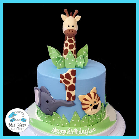 buttercream safari animals 1st birthday cake