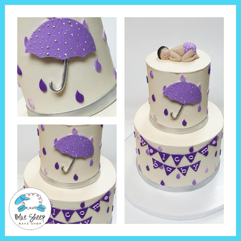 buttercream raindrops baby shower cake nj custom cakes