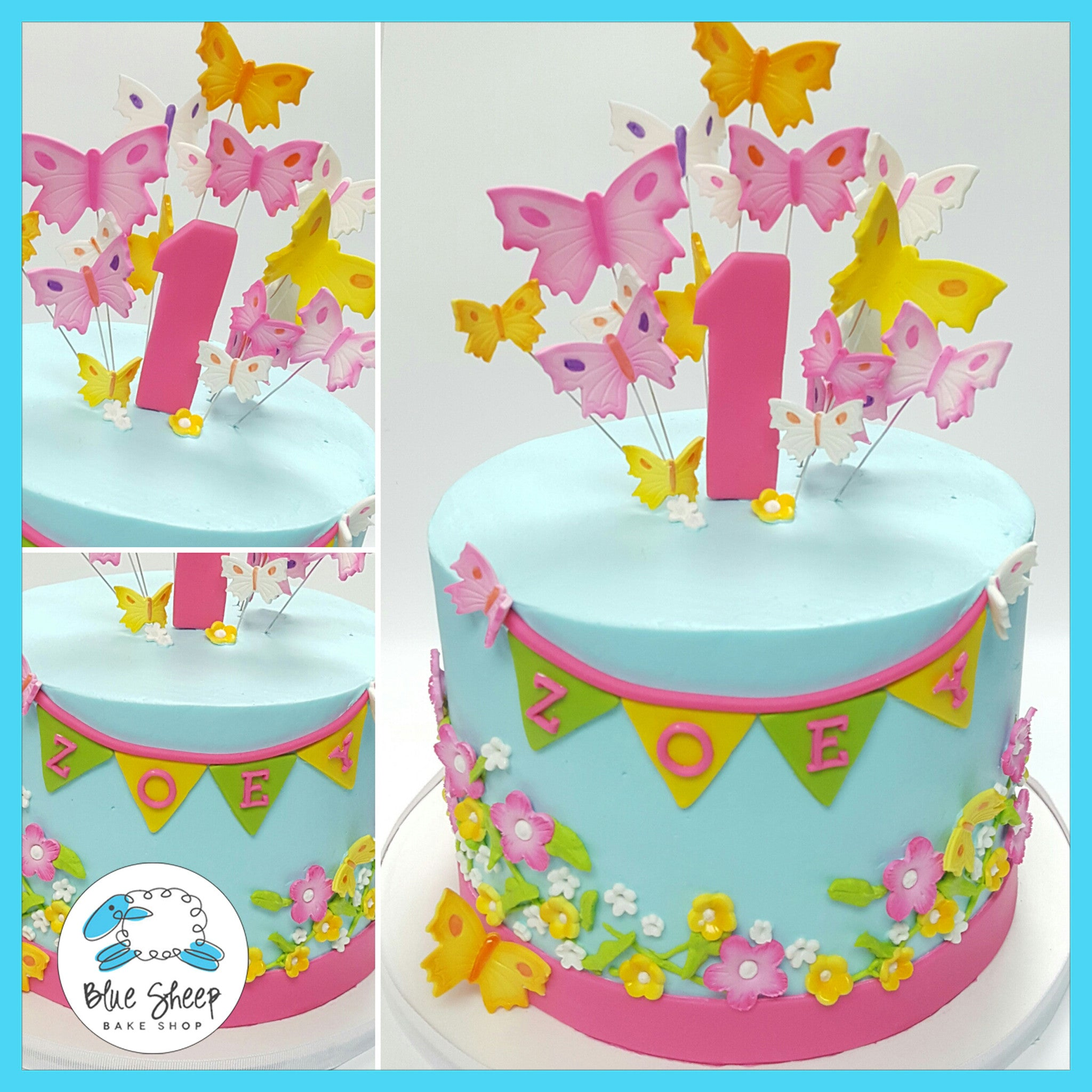 Pleasant Zoeys Buttercream Butterfly 1St Birthday Cake Blue Sheep Bake Shop Personalised Birthday Cards Petedlily Jamesorg