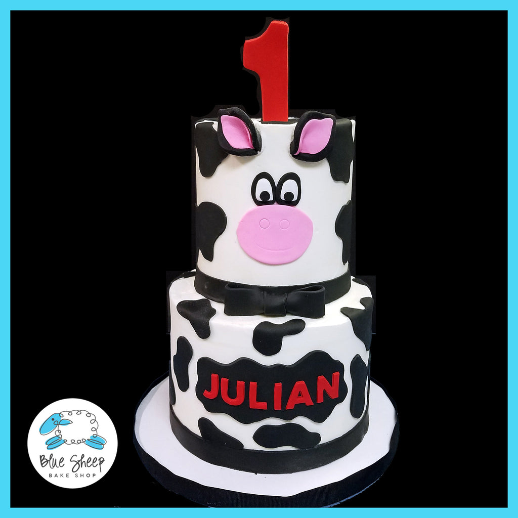 Nail Cake Blue Black Splodges Cow Print: Custom Specialty Cakes And Cupcakes NJ