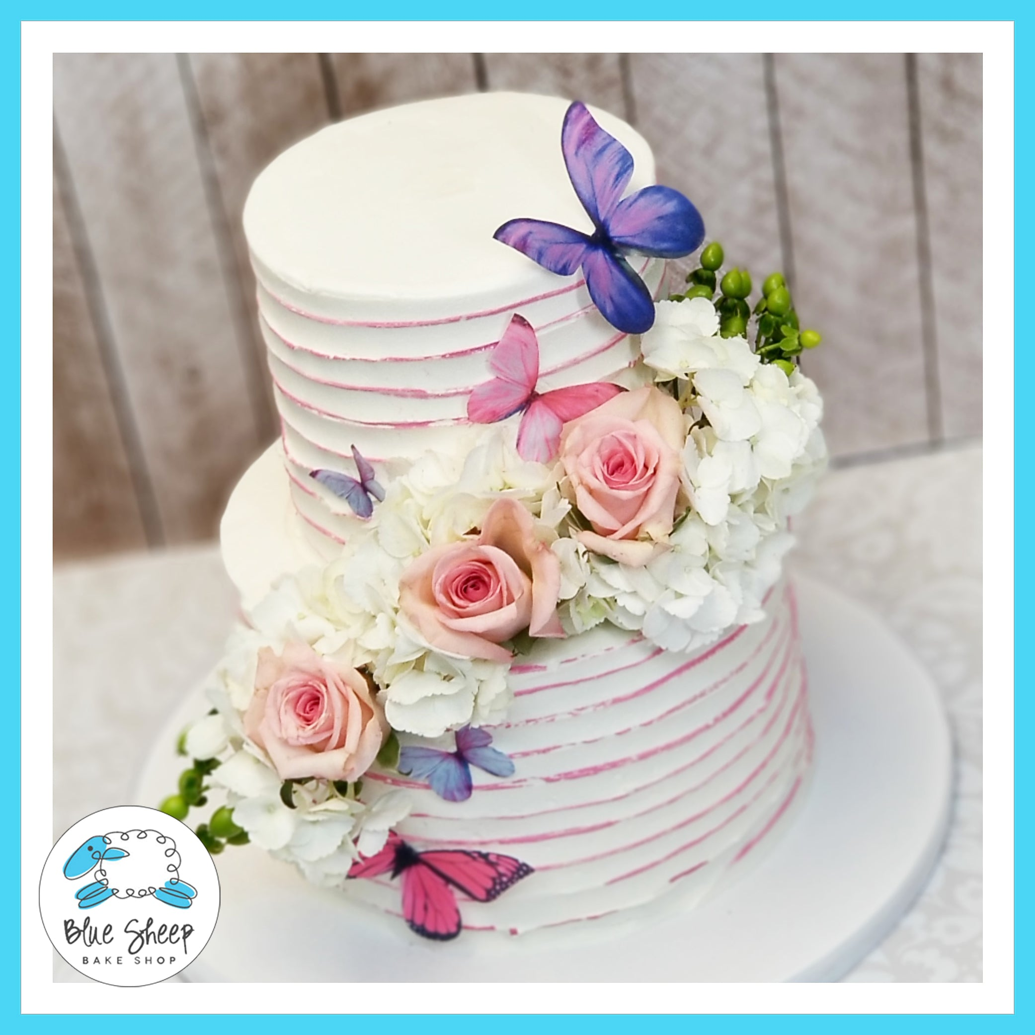 Fabulous Buttercream Floral 1St Birthday Cake With Butterflies Blue Sheep Personalised Birthday Cards Petedlily Jamesorg
