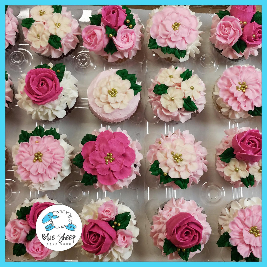 rosette cupcakes, floral cupcakes, flower cupcakes, cupcakes, custom cupcakes, nj cupcakes, birthday cupcakes, best cupcakes nj, tea party cupcakes