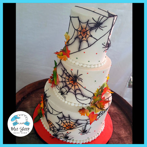 buttercream halloween wedding cake