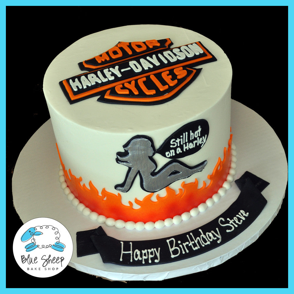 Buttercream Harley Davidson Birthday Cake Blue Sheep Bake Shop