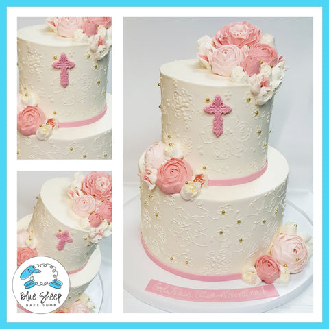 Pink and Ivory Buttercream Lace & Roses Communion Cake II