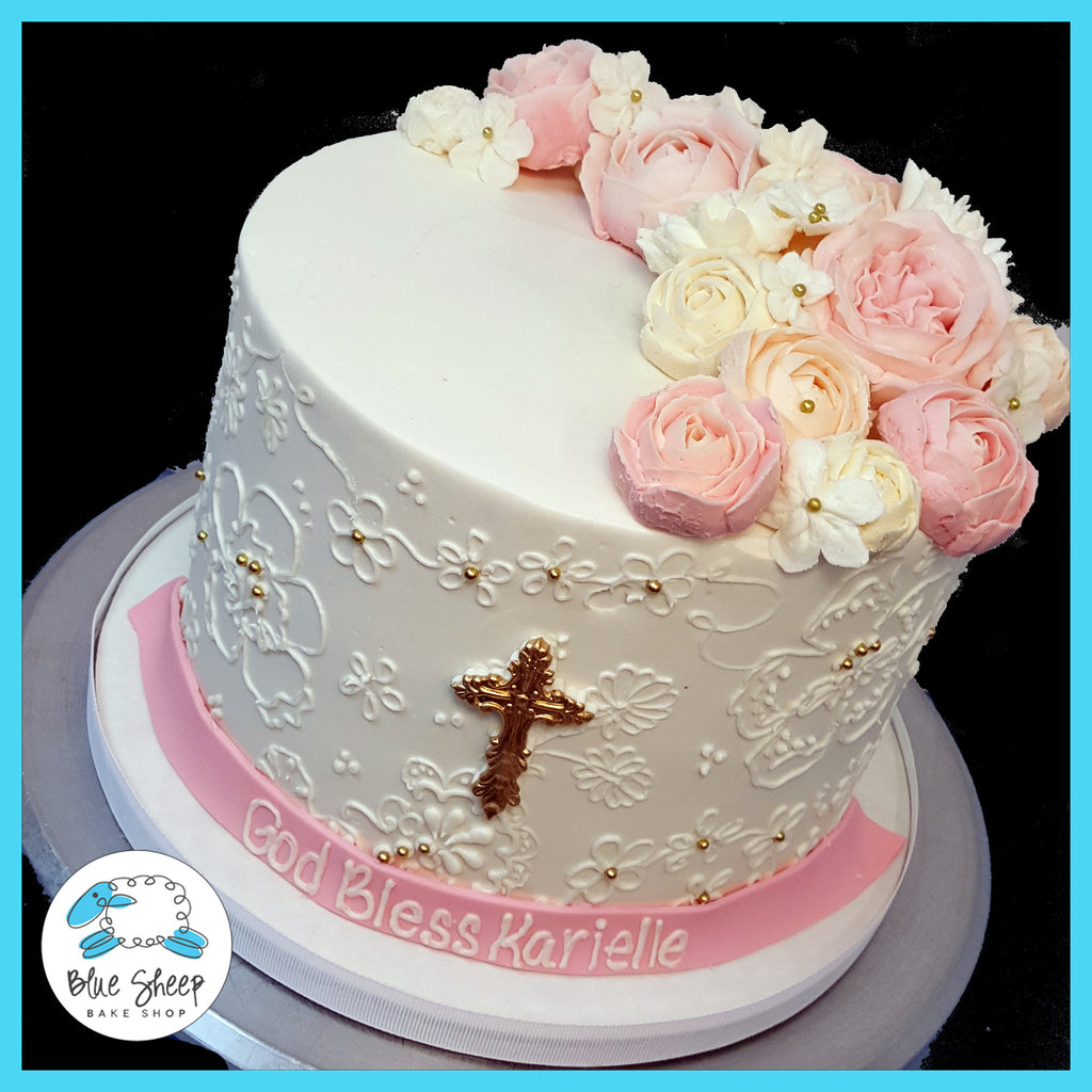 buttercream communion confirmation cake nj lace