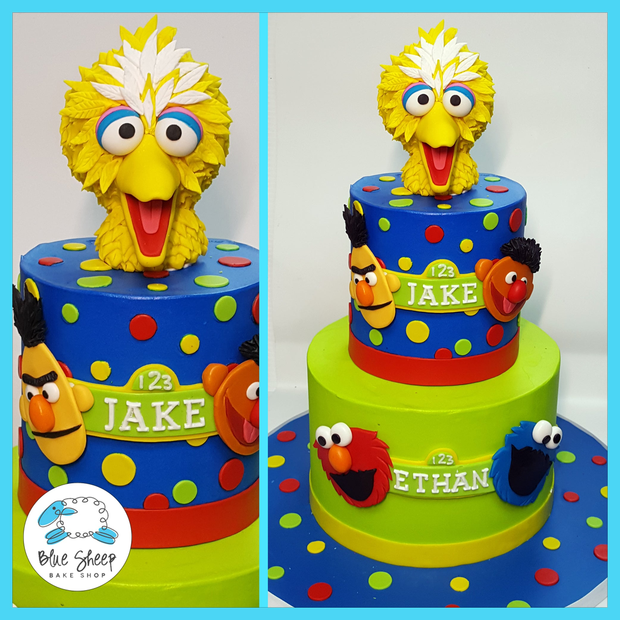 Jake Ethan S Sesame Street Birthday Cake Blue Sheep Bake Shop