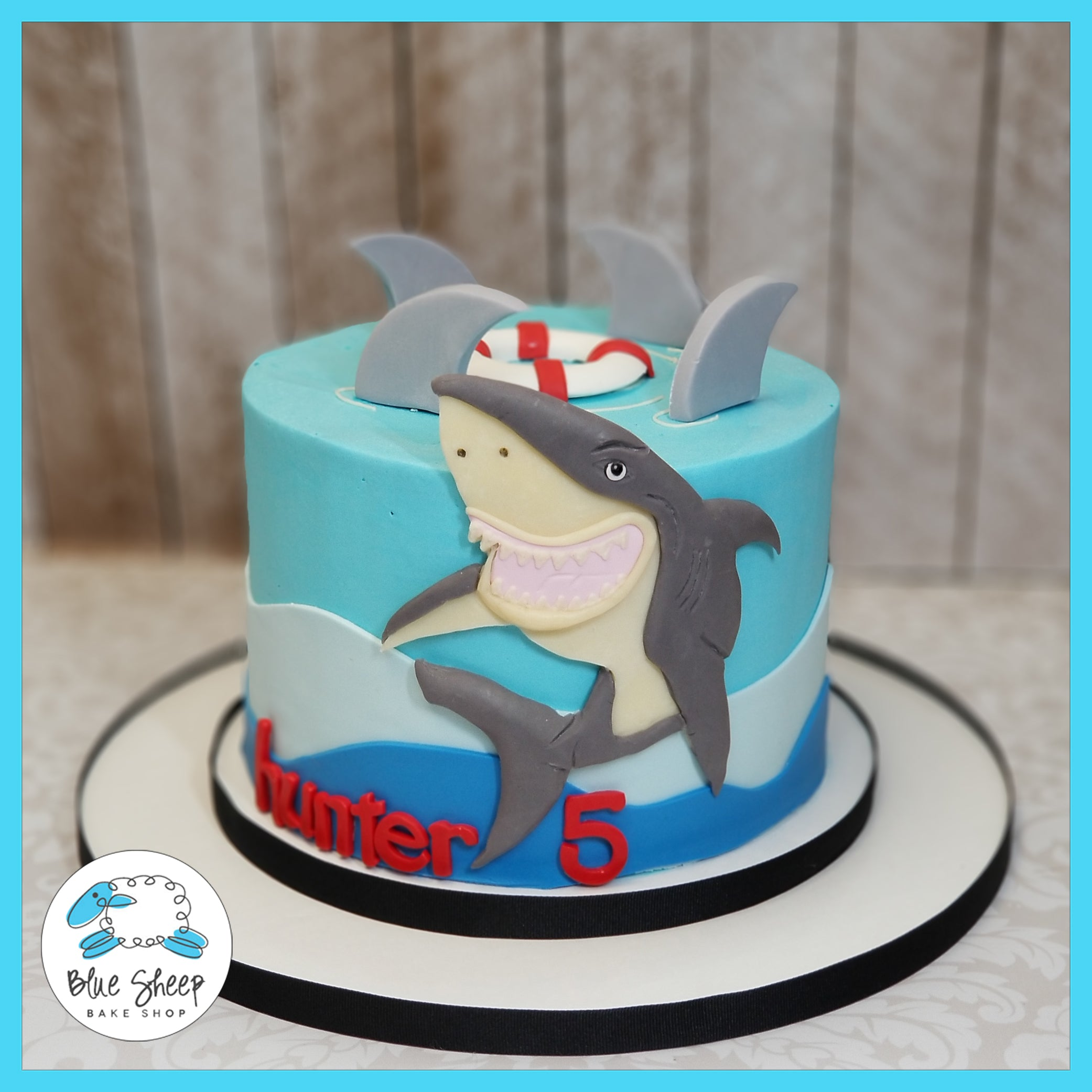 Swell Shark Inspired Birthday Cake Blue Sheep Bake Shop Funny Birthday Cards Online Fluifree Goldxyz
