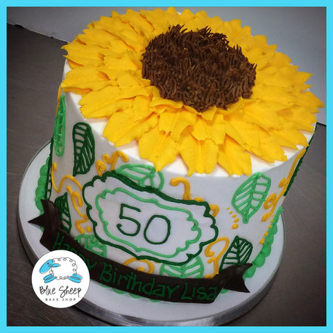 sunflower buttercream birthday cake