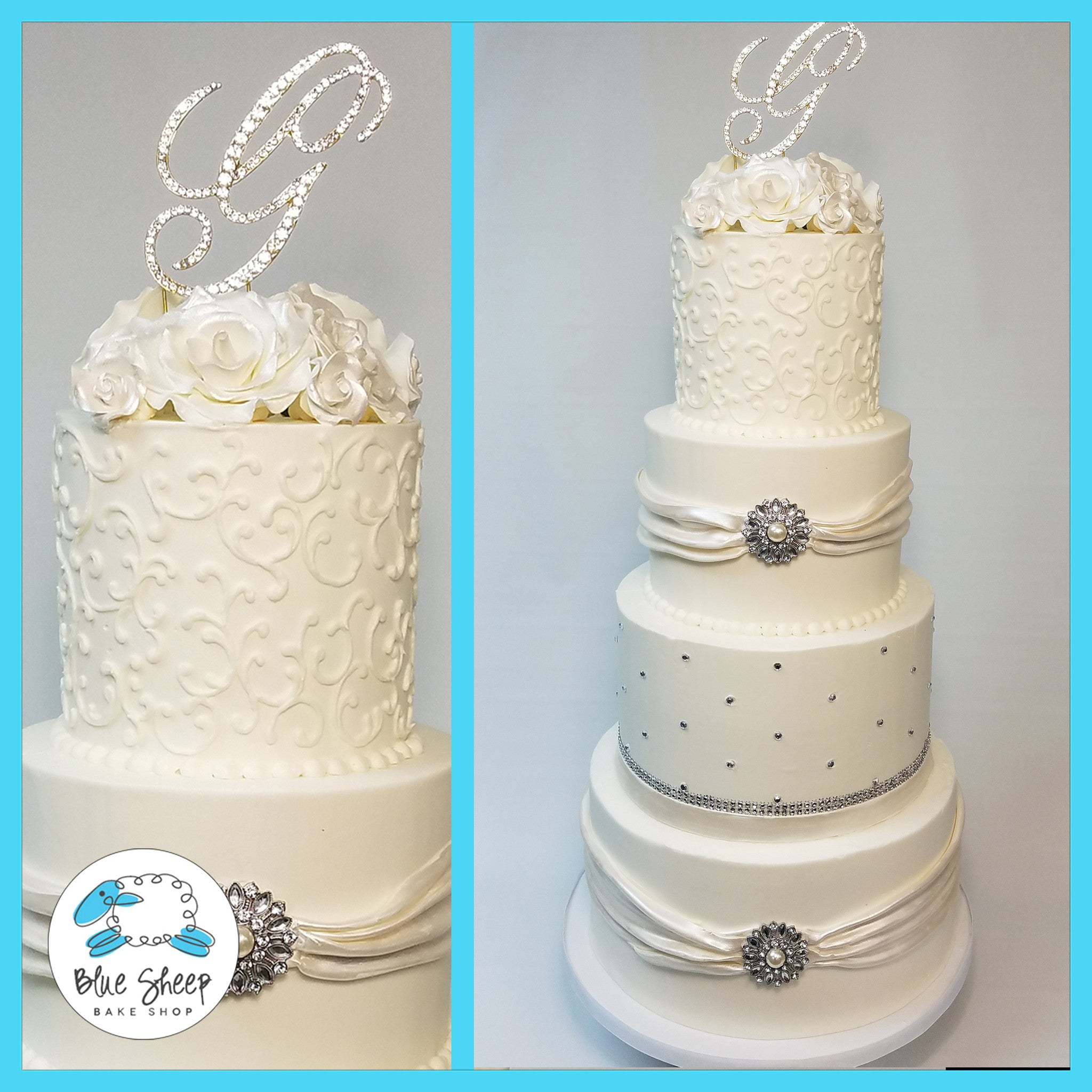 Crystals & Brooches Buttercream Wedding Cake NJ | Blue Sheep Bake Shop