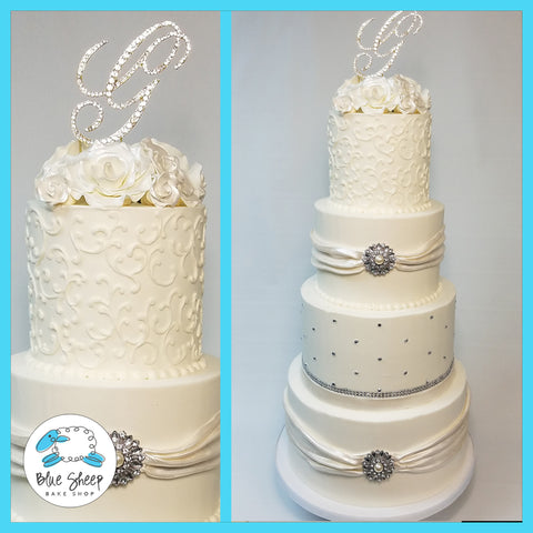 amazing four tiered buttercream wedding cake nj