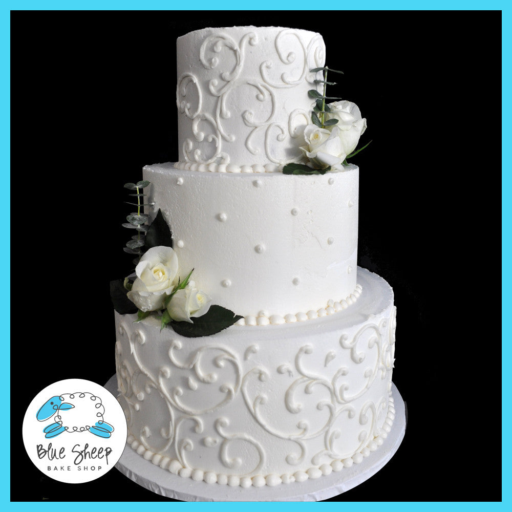 Filigree Buttercream Wedding Cake With Roses | Blue Sheep Bake Shop