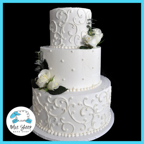 Filigree Buttercream Wedding Cake With Roses